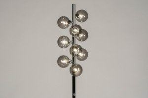 vloerlamp 13592 sale modern retro eigentijds klassiek art deco glas metaal grijs bruin chroom rond
