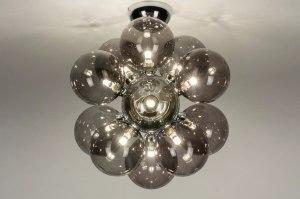 plafondlamp 13594 modern retro art deco glas grijs bruin chroom rond