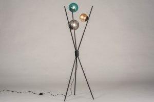 vloerlamp 13600 modern retro art deco glas metaal zwart mat meerkleurig rond