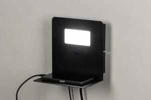 wandlamp 13603 modern metaal zwart mat vierkant