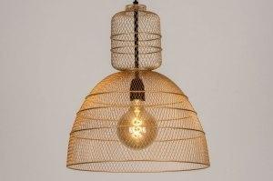 hanglamp 13612 industrie look modern eigentijds klassiek metaal goud rond