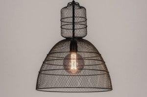 hanglamp 13613 industrie look modern metaal zwart mat rond