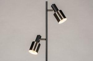 vloerlamp 13614 modern retro staal rvs metaal zwart mat staalgrijs rond
