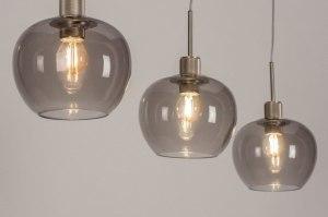 hanglamp 13615 modern retro eigentijds klassiek glas staal rvs grijs staalgrijs rond langwerpig
