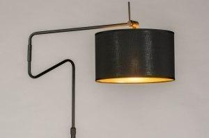 staande lamp 13617 industrie look modern retro eigentijds klassiek stof metaal zwart mat goud rond