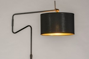 vloerlamp 13617 industrie look modern retro eigentijds klassiek stof metaal zwart mat goud rond