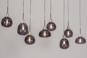 hanglamp 13619 landelijk rustiek modern eigentijds klassiek glas staal rvs zwart grijs staalgrijs langwerpig