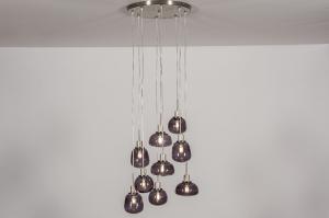 hanglamp 13620 landelijk rustiek modern eigentijds klassiek glas staal rvs zwart grijs staalgrijs