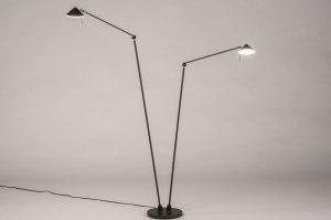 vloerlamp 13622 design modern staal rvs metaal zwart mat staalgrijs rond