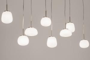 hanglamp 13623 modern retro eigentijds klassiek art deco glas wit opaalglas staal rvs metaal wit glans staalgrijs langwerpig