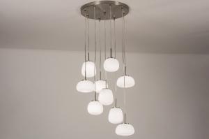 hanglamp 13624 modern retro eigentijds klassiek art deco glas wit opaalglas staal rvs wit glans staalgrijs rond