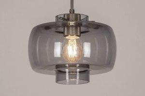 hanglamp 13629 modern retro eigentijds klassiek art deco glas staal rvs grijs staalgrijs rond