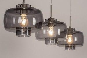 hanglamp 13631 modern retro eigentijds klassiek art deco glas staal rvs metaal grijs staalgrijs rond langwerpig