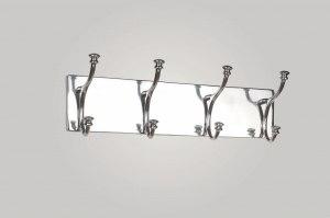 kapstok 13635 landelijk rustiek retro klassiek eigentijds klassiek aluminium metaal zilvergrijs