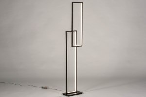 vloerlamp 13638 design modern aluminium metaal zwart mat rechthoekig
