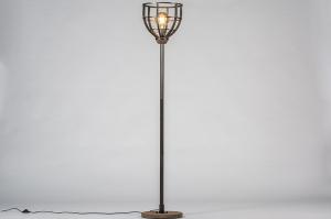 vloerlamp 13639 industrie look modern stoer raw hout metaal zwart bruin oldmetal (gunmetal) rond