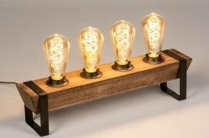 tafellamp 13640 industrie look landelijk rustiek modern hout metaal zwart mat bruin langwerpig rechthoekig