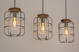 hanglamp 13641 industrie look landelijk rustiek modern stoer raw hout metaal grijs staalgrijs zink rond langwerpig
