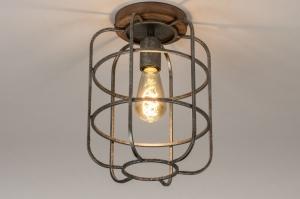 plafondlamp 13642 industrie look landelijk rustiek modern hout gegalvaniseerd staal thermisch verzinkt metaal nikkel zink staalgrijs zink rond