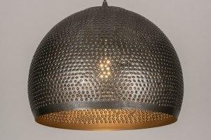 hanglamp 13643 landelijk rustiek modern stoer raw metaal grijs zilvergrijs staalgrijs rond