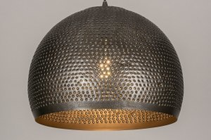 Pendelleuchte 13643 laendlich rustikal modern coole Lampen grob Metall grau Silber stahlgrau rund