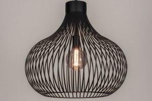 hanglamp 13647 industrie look modern retro metaal zwart mat rond