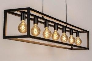 hanglamp 13648 industrie look modern stoer raw metaal zwart mat langwerpig rechthoekig