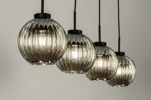 hanglamp 13649 modern retro eigentijds klassiek art deco glas metaal zwart mat rond langwerpig