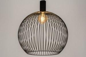 hanglamp 13653 modern metaal zwart mat rond