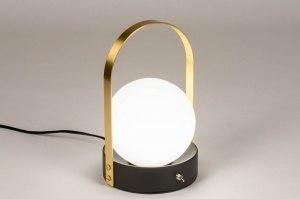 tafellamp 13656 modern eigentijds klassiek art deco glas wit opaalglas messing geschuurd metaal zwart mat wit goud messing rond