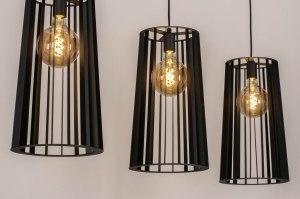 hanglamp 13659 industrie look landelijk rustiek modern metaal zwart mat rond langwerpig