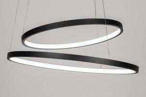 hanglamp 13671 modern metaal zwart mat rond