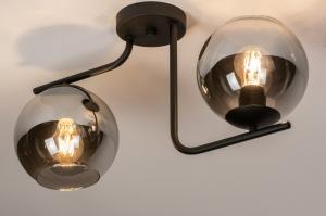 plafondlamp 13761 modern retro eigentijds klassiek art deco glas metaal zwart mat grijs rond