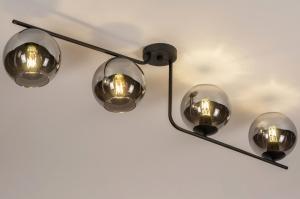 plafondlamp 13762 modern retro eigentijds klassiek art deco glas metaal zwart mat grijs rond
