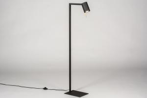 staande lamp 13778 industrie look modern eigentijds klassiek metaal zwart mat goud mat messing rond vierkant rechthoekig