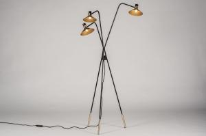 vloerlamp 13779 modern retro eigentijds klassiek art deco metaal zwart mat goud messing
