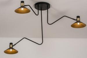plafondlamp 13780 modern retro eigentijds klassiek art deco metaal zwart mat goud messing rond