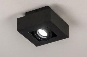 plafondlamp 13781 design modern metaal zwart mat vierkant