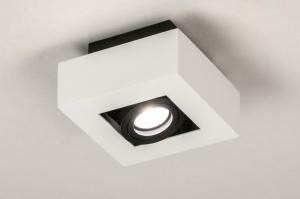 plafondlamp 13782 design modern metaal zwart mat wit mat vierkant