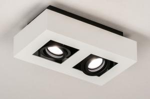 plafondlamp 13785 design modern metaal zwart mat wit mat vierkant