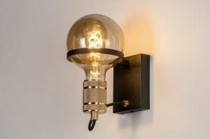 wandlamp 13786 industrie look modern retro eigentijds klassiek art deco metaal zwart mat goud messing rond