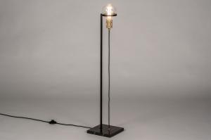 vloerlamp 13787 industrie look modern retro eigentijds klassiek art deco messing marmer metaal zwart mat goud messing rond vierkant