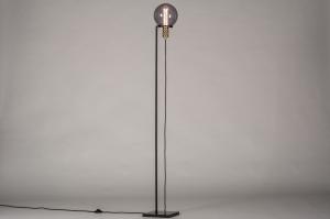 vloerlamp 13788 industrie look modern retro eigentijds klassiek art deco messing marmer metaal zwart mat goud messing rond vierkant