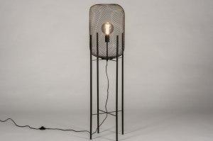 vloerlamp 13791 industrie look landelijk rustiek modern retro metaal zwart mat rond