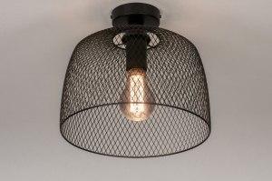 plafondlamp 13792 industrie look landelijk rustiek modern metaal zwart mat rond