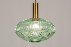 hanglamp 13793 modern retro eigentijds klassiek art deco glas messing geschuurd groen messing rond