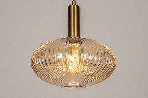 hanglamp 13794 modern retro eigentijds klassiek art deco glas messing geschuurd geel messing rond