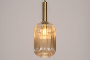 hanglamp 13795 modern retro eigentijds klassiek art deco glas messing geschuurd geel messing rond