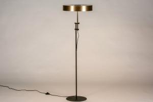 vloerlamp 13798 modern retro eigentijds klassiek art deco messing metaal zwart mat goud messing rond
