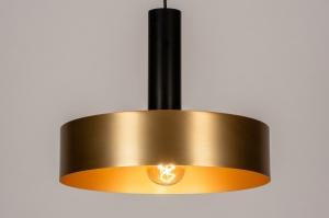hanglamp 13799 modern retro eigentijds klassiek art deco messing geschuurd metaal zwart mat messing rond